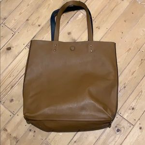 Reversible brown and navy tote